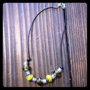 Handmade Glass Bead & Cord Necklace